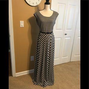 Calvin Klein Black/Beige Strip Knit Maxi Dress